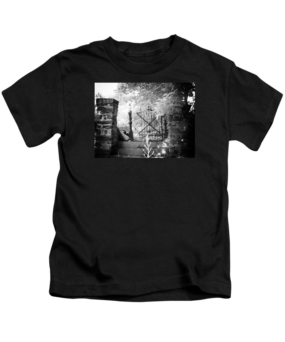 Gate Kids T-Shirt featuring the photograph At The Old Gate by Bill Cannon