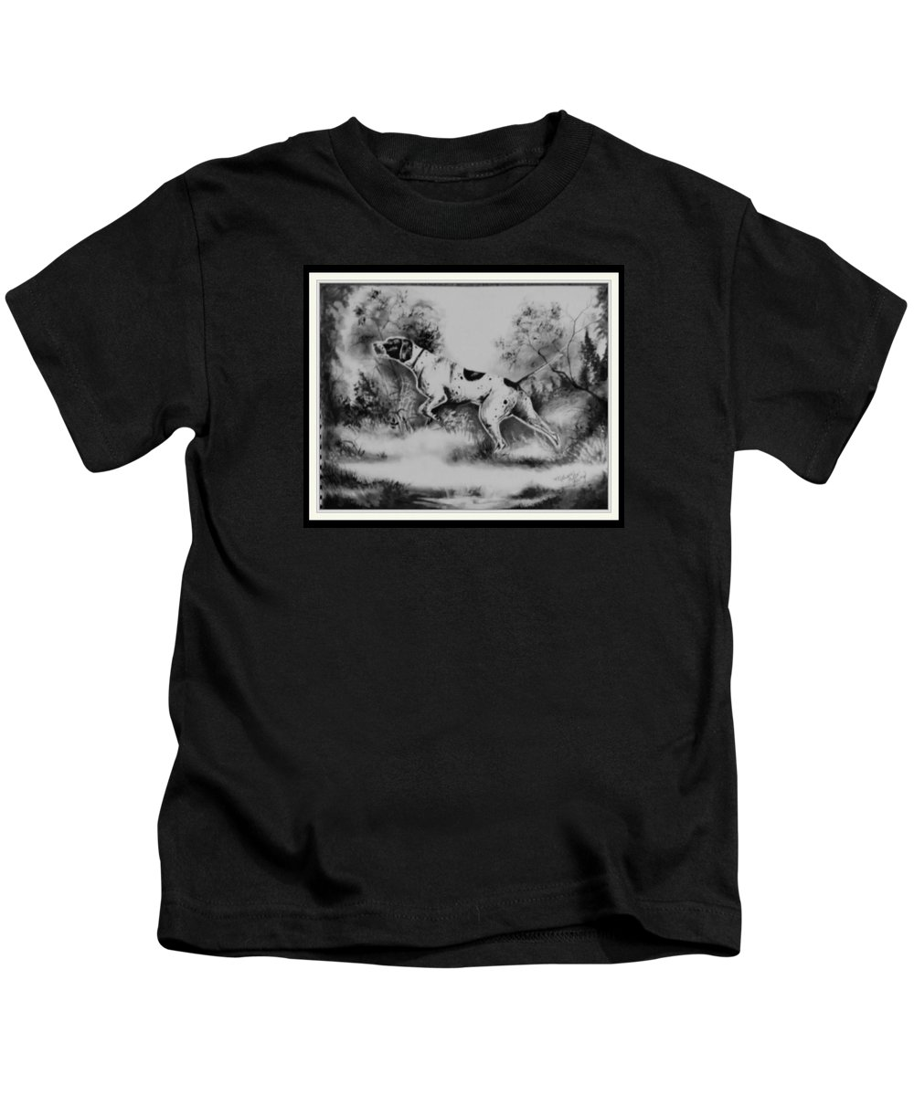 Dog At Work.... Kids T-Shirt featuring the painting At Work by Melissa Young