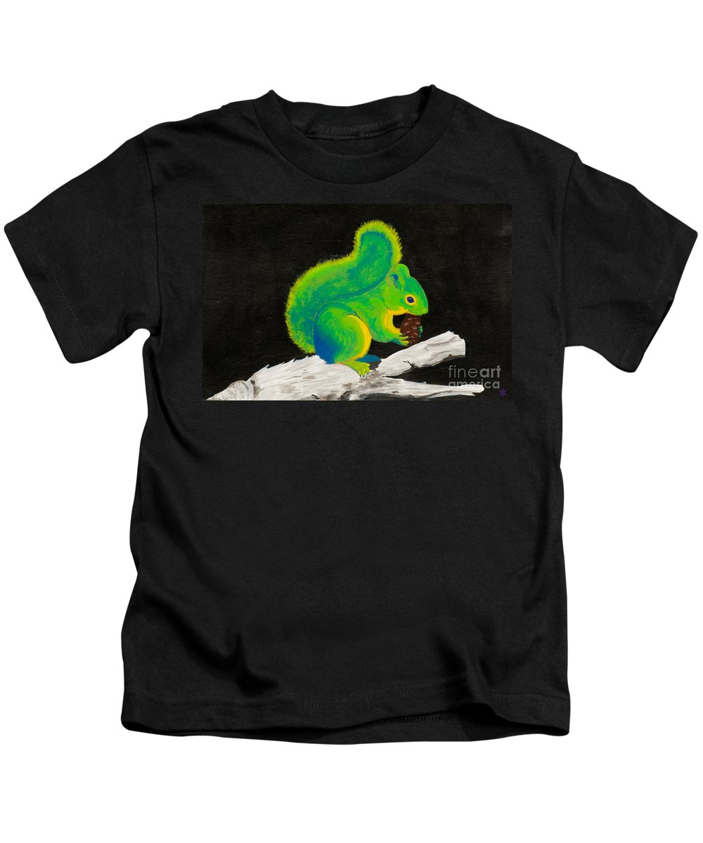 Squirrel Kids T-Shirt featuring the painting Atomic Squirrel by Stefanie Forck