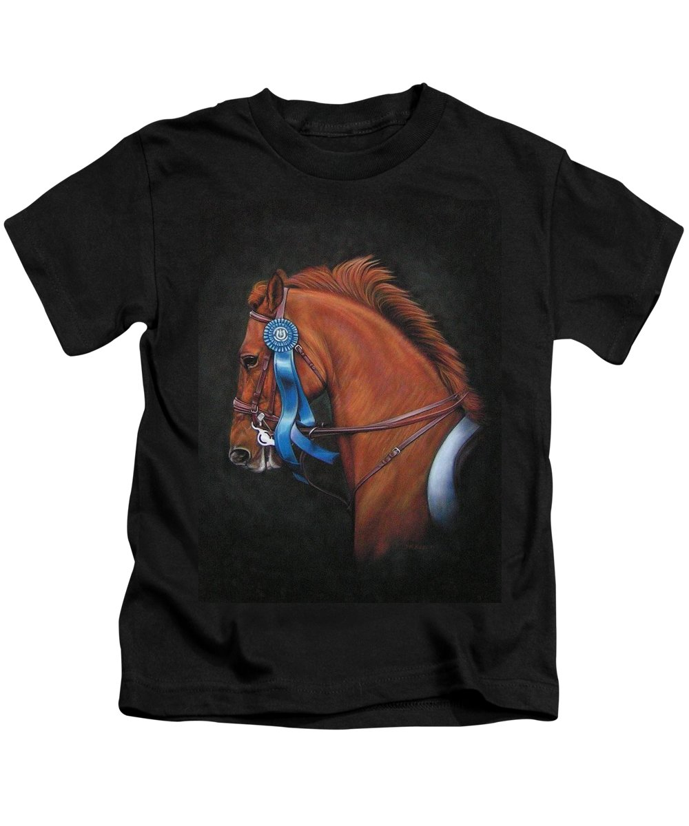 Horse Kids T-Shirt featuring the painting Attitude by Yvonne Hazelton