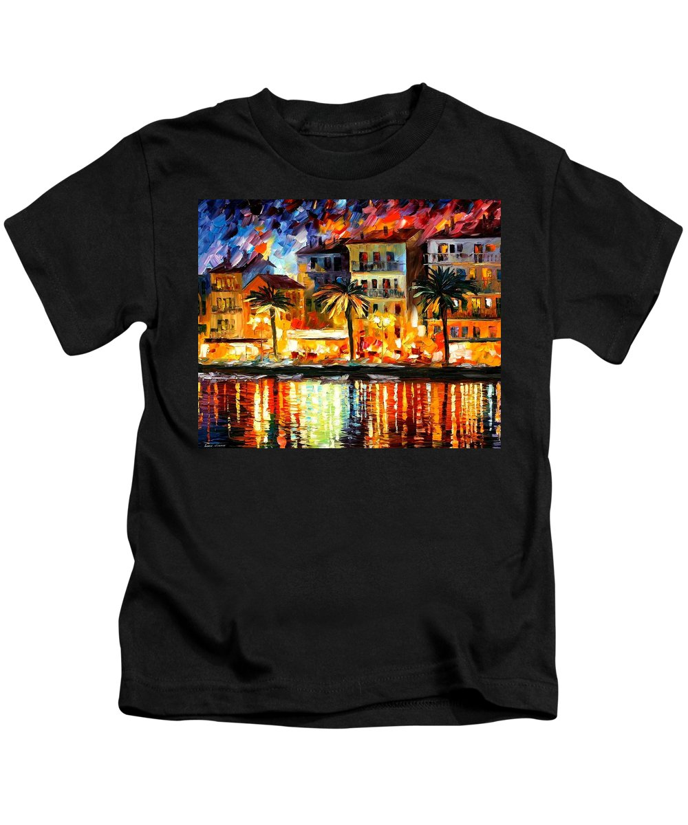Afremov Kids T-Shirt featuring the painting Attractive Corsica by Leonid Afremov
