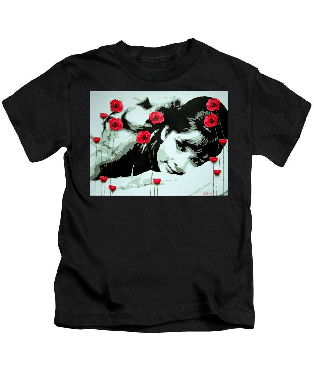 Audrey Poppies 60s Breakfast Tiffany Kids T-Shirt featuring the mixed media Audrey In Poppies by Samitha Edwards