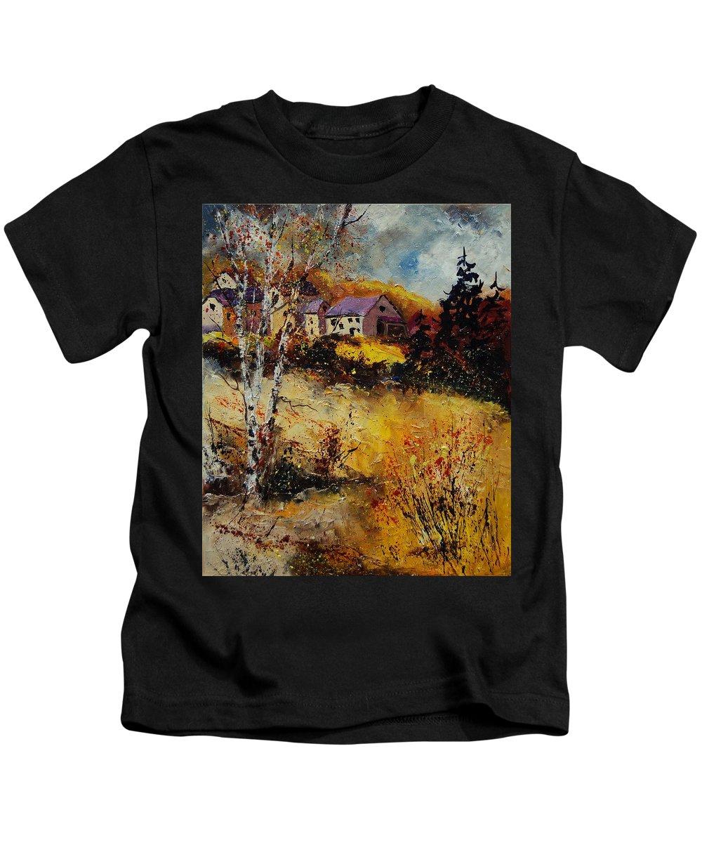 Landscape Kids T-Shirt featuring the painting Autumn 569021 by Pol Ledent