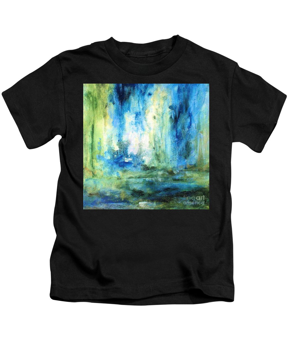 Art Kids T-Shirt featuring the painting Spring Rain by Laurie Rohner