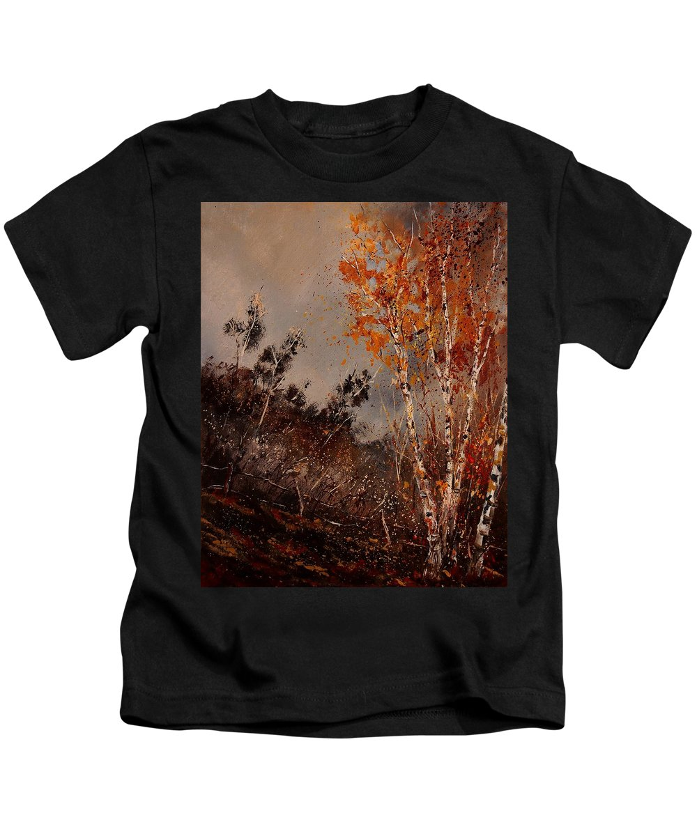 Tree Kids T-Shirt featuring the painting Autumn Birches by Pol Ledent