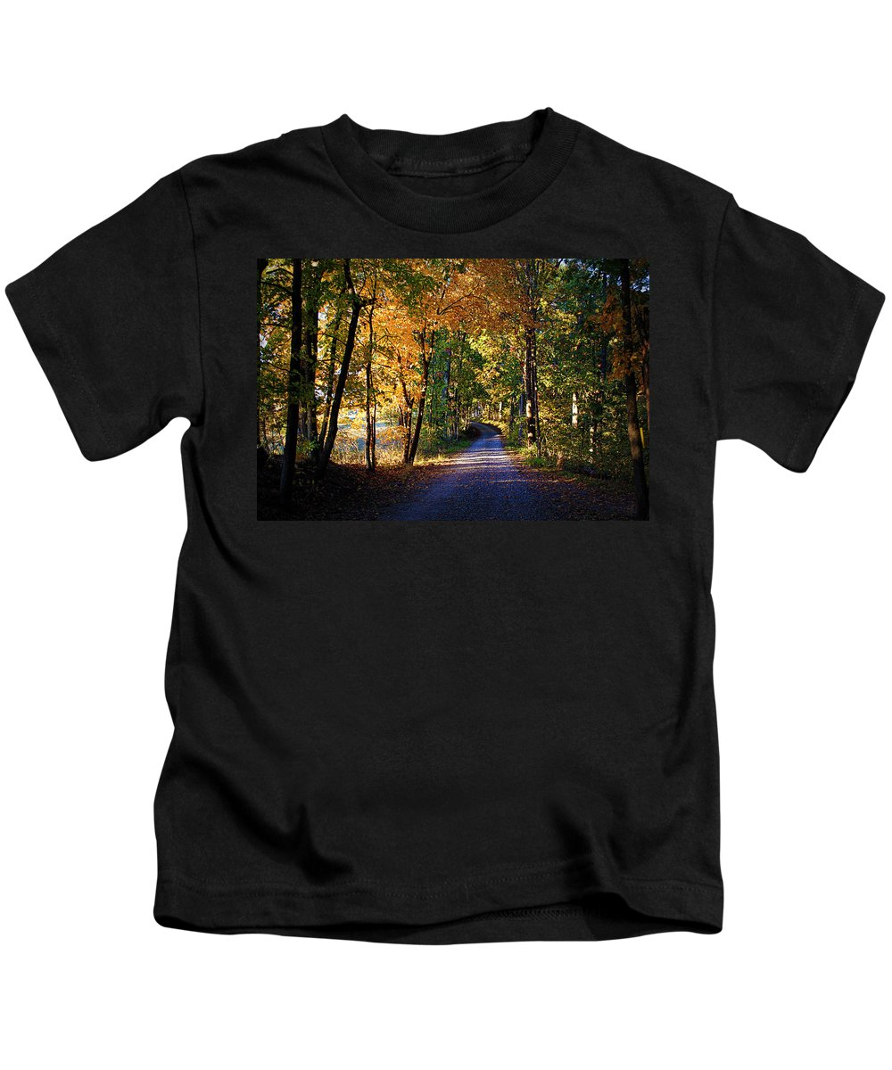 Autumn Kids T-Shirt featuring the photograph Autumn Country Lane by Cricket Hackmann
