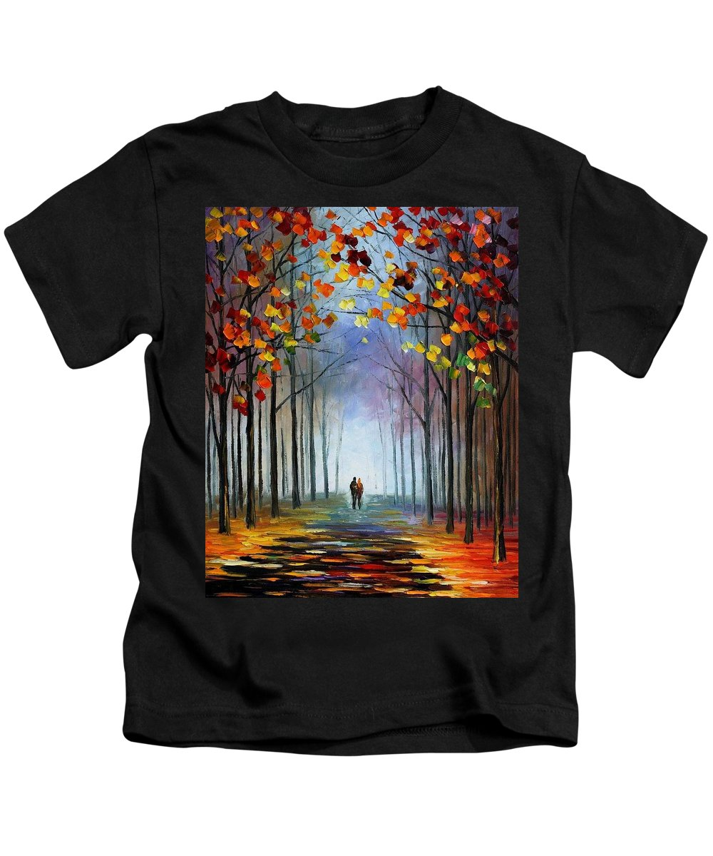 Afremov Kids T-Shirt featuring the painting Autumn Fog by Leonid Afremov