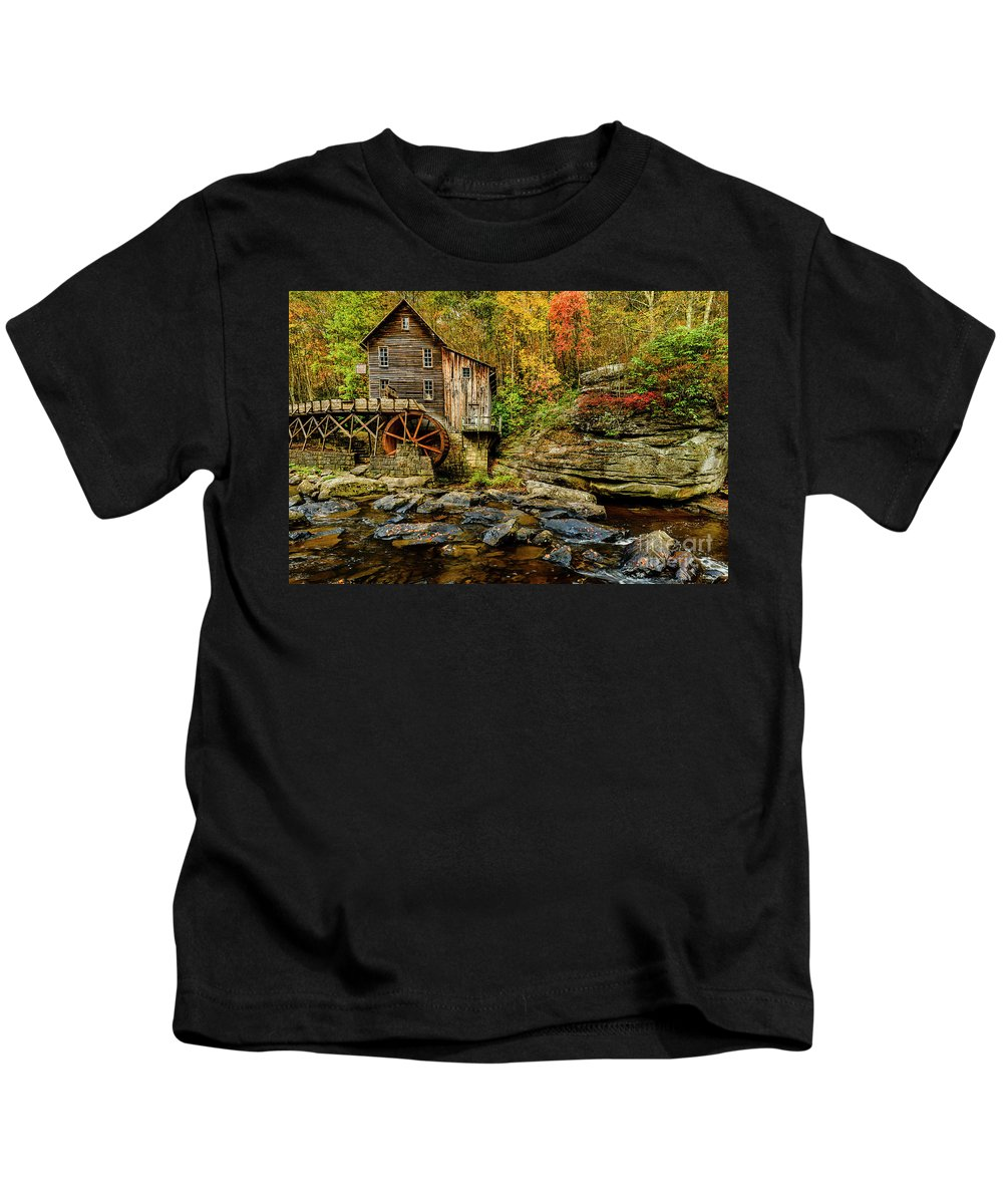 Babcock State Park Kids T-Shirt featuring the photograph Autumn Glade Creek Grist Mill by Thomas R Fletcher
