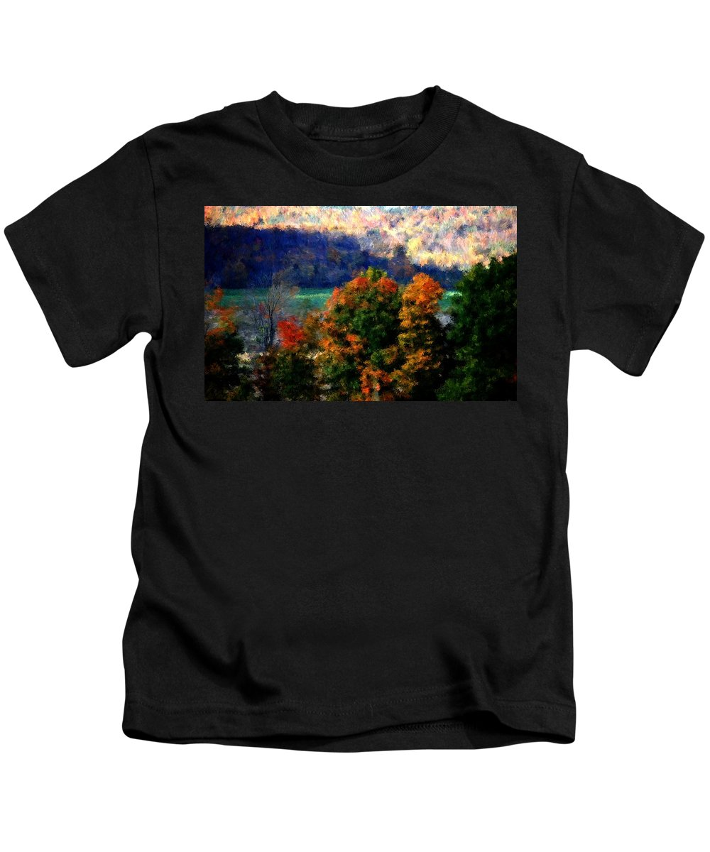 Digital Photograph Kids T-Shirt featuring the photograph Autumn Hedgerow by David Lane