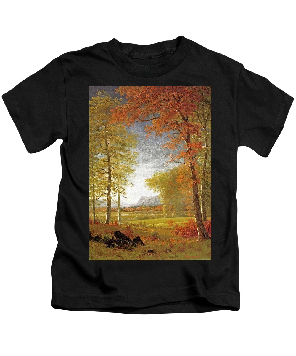 Albert Bierstadt Kids T-Shirt featuring the painting Autumn In America by MotionAge Designs