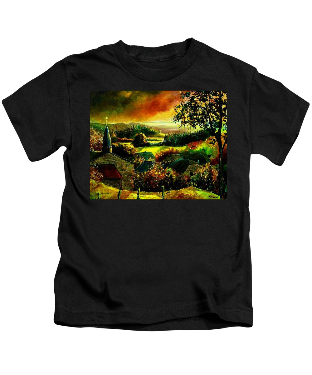 Landscape Kids T-Shirt featuring the painting Autumn In Our Village Ardennes by Pol Ledent