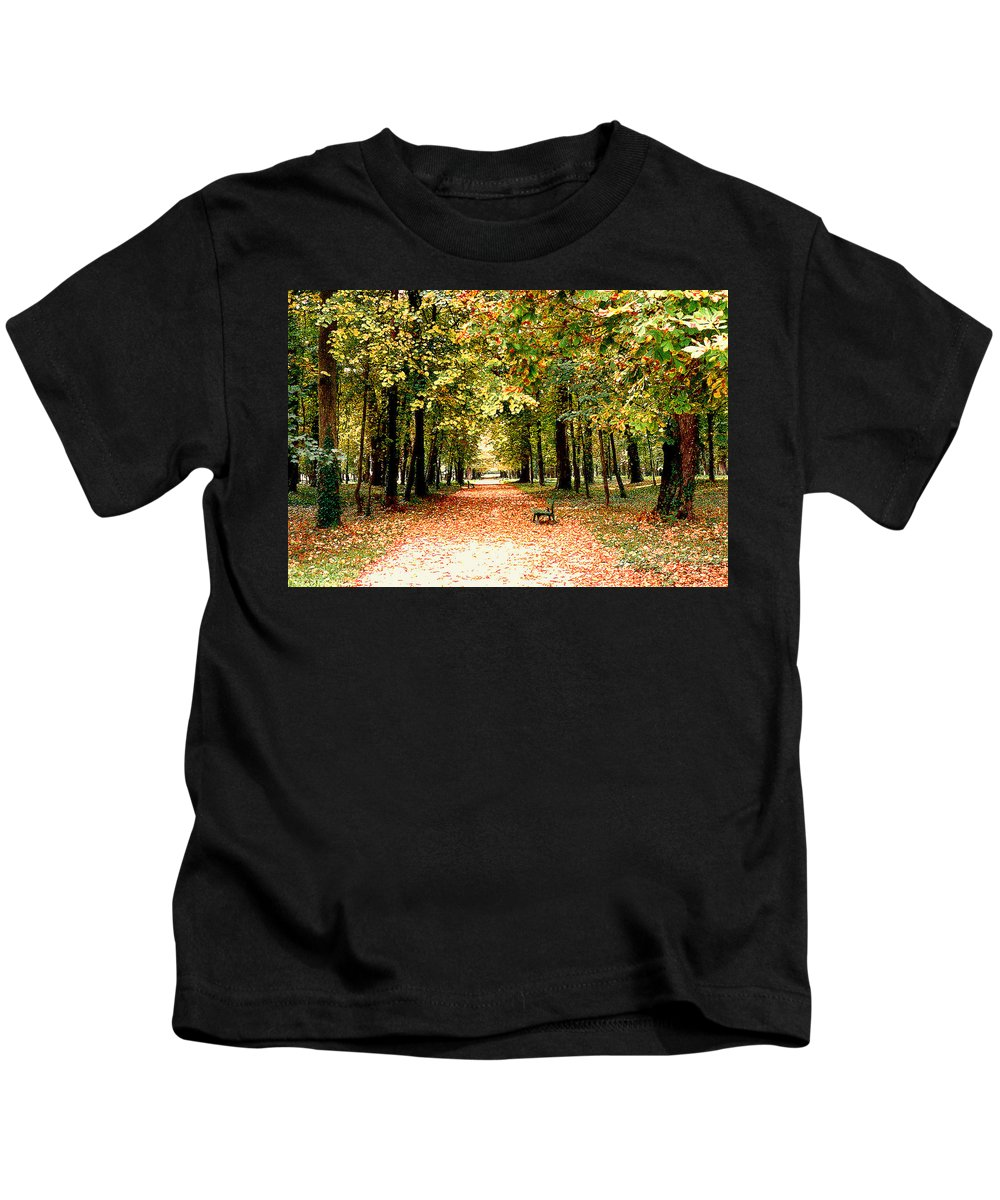 Autumn Kids T-Shirt featuring the photograph Autumn In The Park by Nancy Mueller