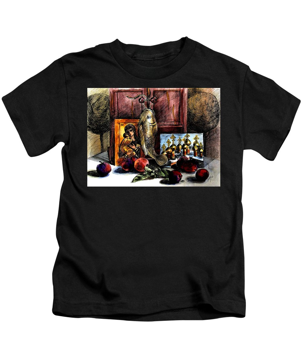 Madonna Kids T-Shirt featuring the painting Autumn Prayer by Inga Vereshchagina