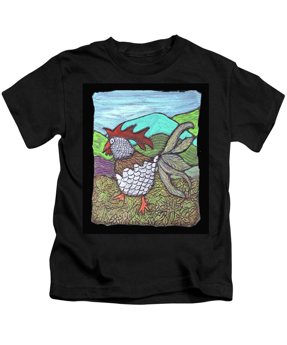 Chicken Kids T-Shirt featuring the painting Autumn Strut by Wayne Potrafka