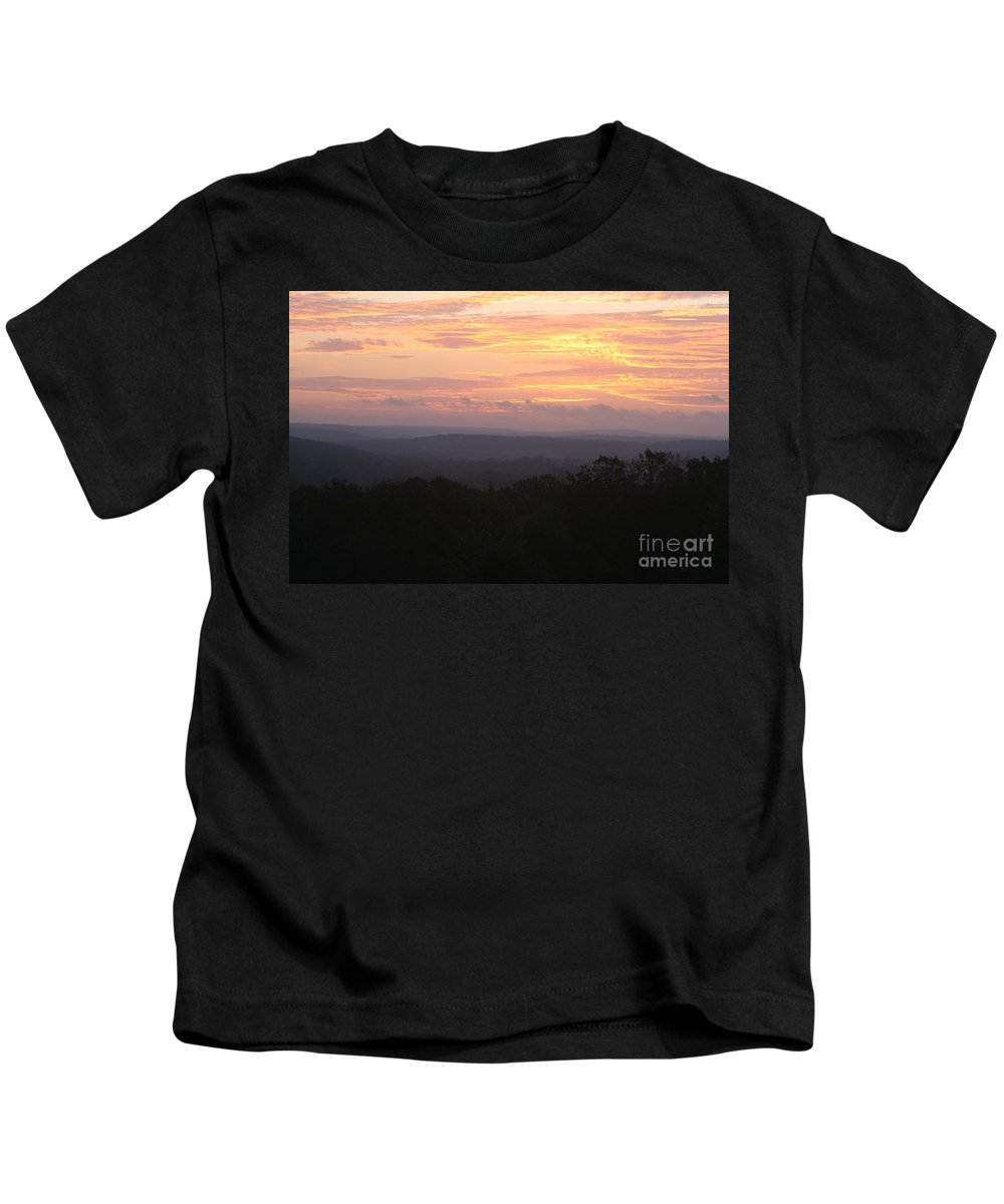 Sunrise Kids T-Shirt featuring the photograph Autumn Sunrise Over The Ozarks by Nadine Rippelmeyer