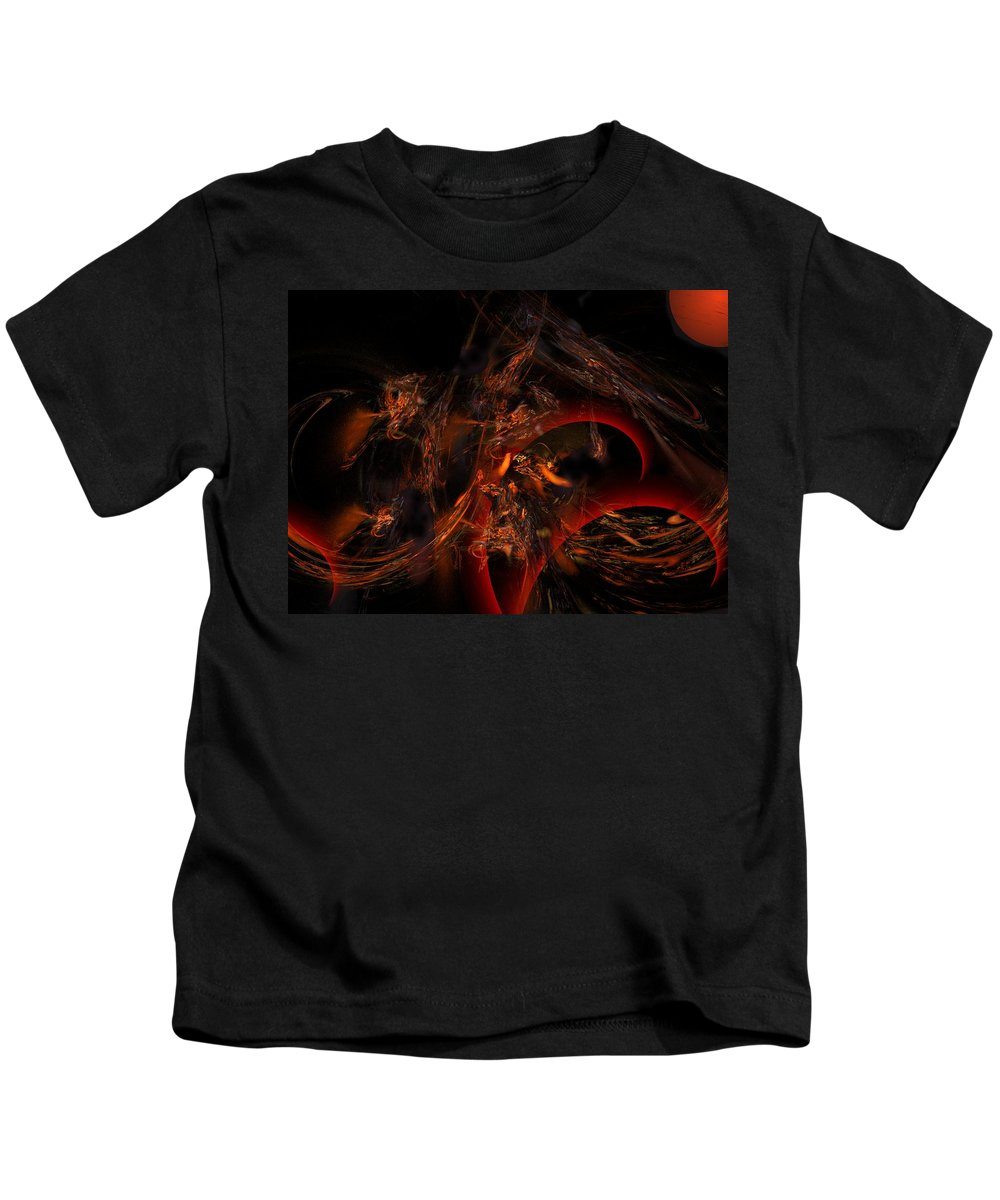 Abstract Digital Painting Kids T-Shirt featuring the digital art Autums Winds 2 by David Lane