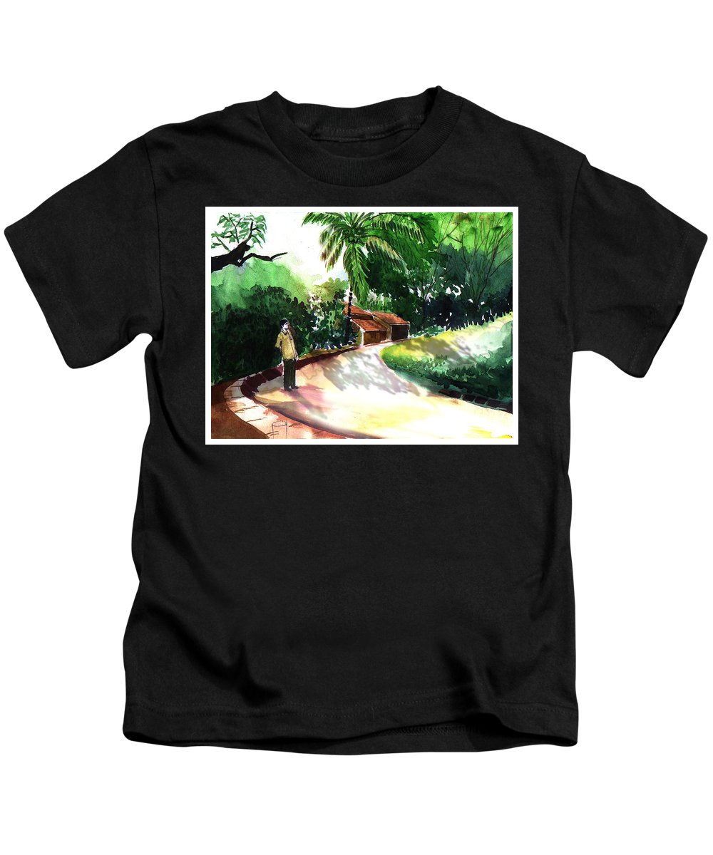 Water Color Watercolor Landscape Greenery Kids T-Shirt featuring the painting Awe by Anil Nene