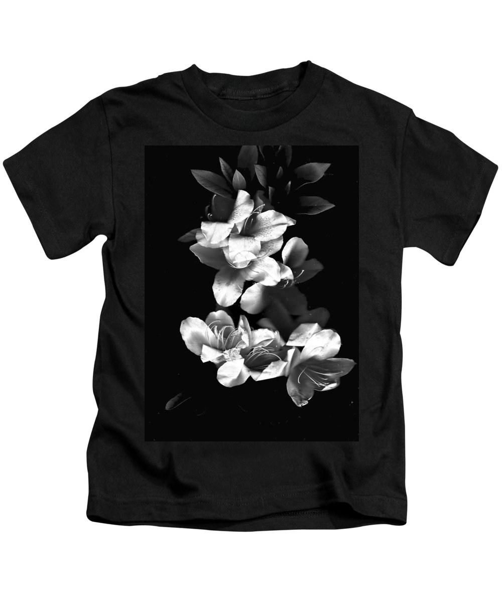 Azaela Kids T-Shirt featuring the photograph Azaela Blossom In Black And White by Wayne Potrafka