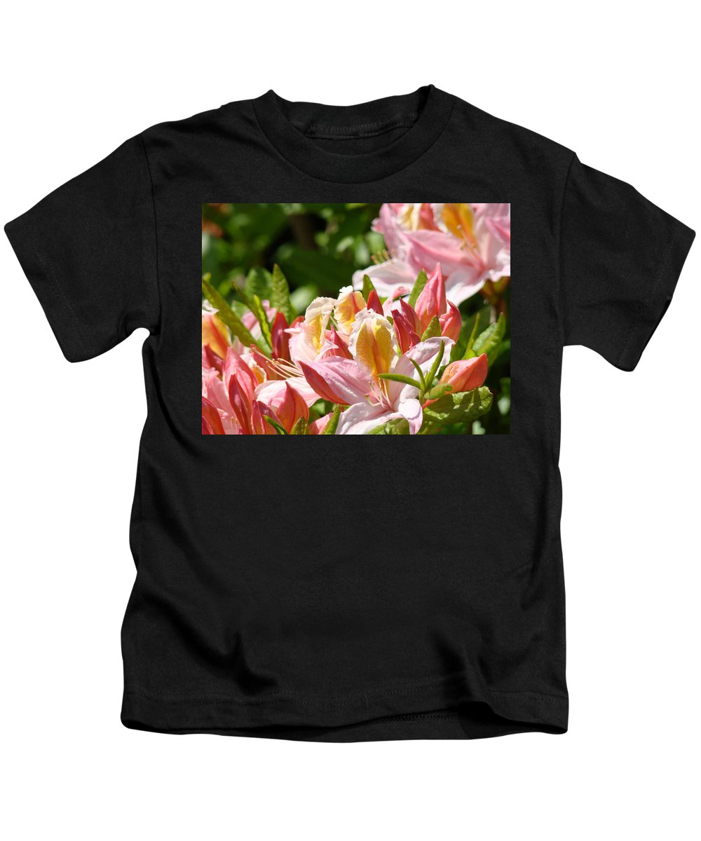 �azaleas Artwork� Kids T-Shirt featuring the photograph Azaleas Pink Orange Yellow Azalea Flowers 6 Summer Flowers Art Prints Baslee Troutman by Baslee Troutman