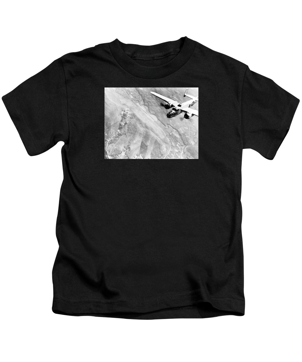 B 25 Kids T-Shirt featuring the photograph B-25 Bomber Over Germany by War Is Hell Store