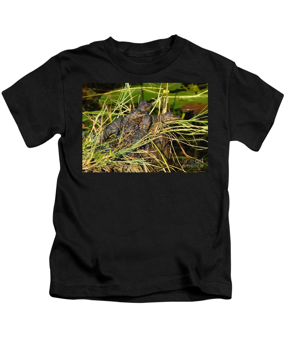 Alligators Kids T-Shirt featuring the photograph Baby Alligators by David Lee Thompson