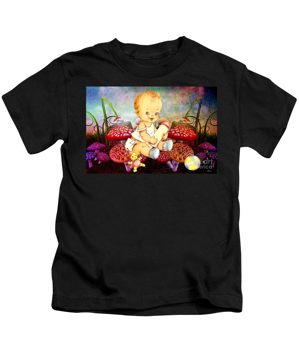 Baby Vintage Mushrooms Mushroom Field Nature Magic Magical Infant Toddler Ball Toy Doll Cheery Cheerful Bright Happy Childhood Child Kids T-Shirt featuring the mixed media Baby Magic by Tammera Malicki-Wong