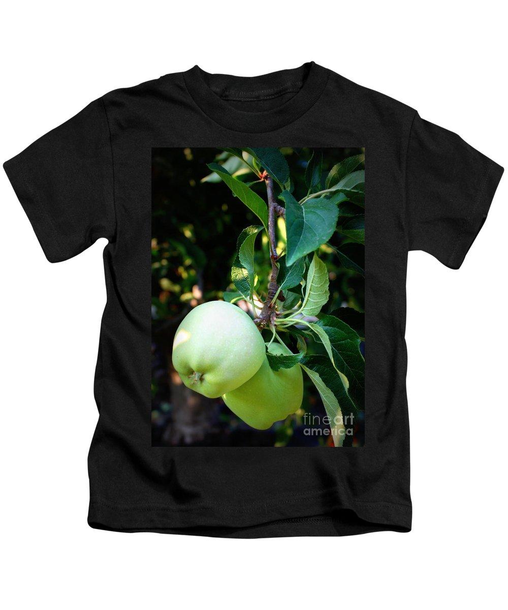 Food Kids T-Shirt featuring the photograph Backyard Garden Series - 2 Apples by Carol Groenen