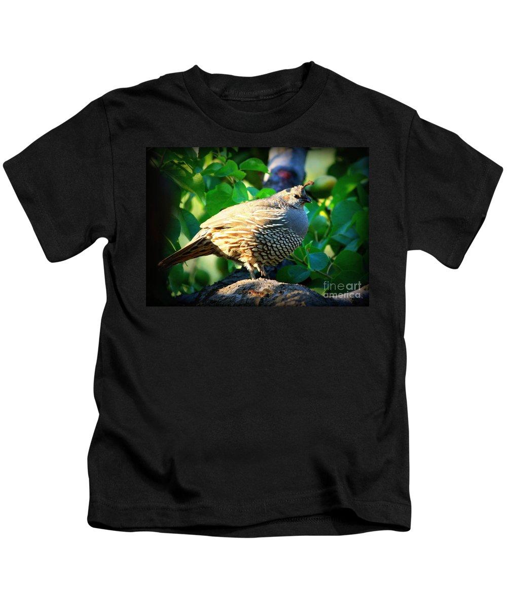 Backyard Garden Kids T-Shirt featuring the photograph Backyard Garden Series - Quail In A Pear Tree by Carol Groenen