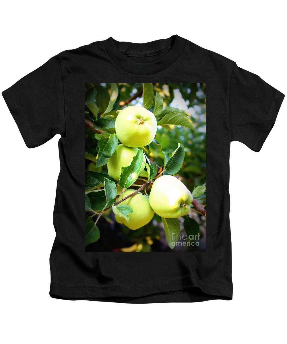 Food Kids T-Shirt featuring the photograph Backyard Garden Series- Golden Delicious Apples by Carol Groenen