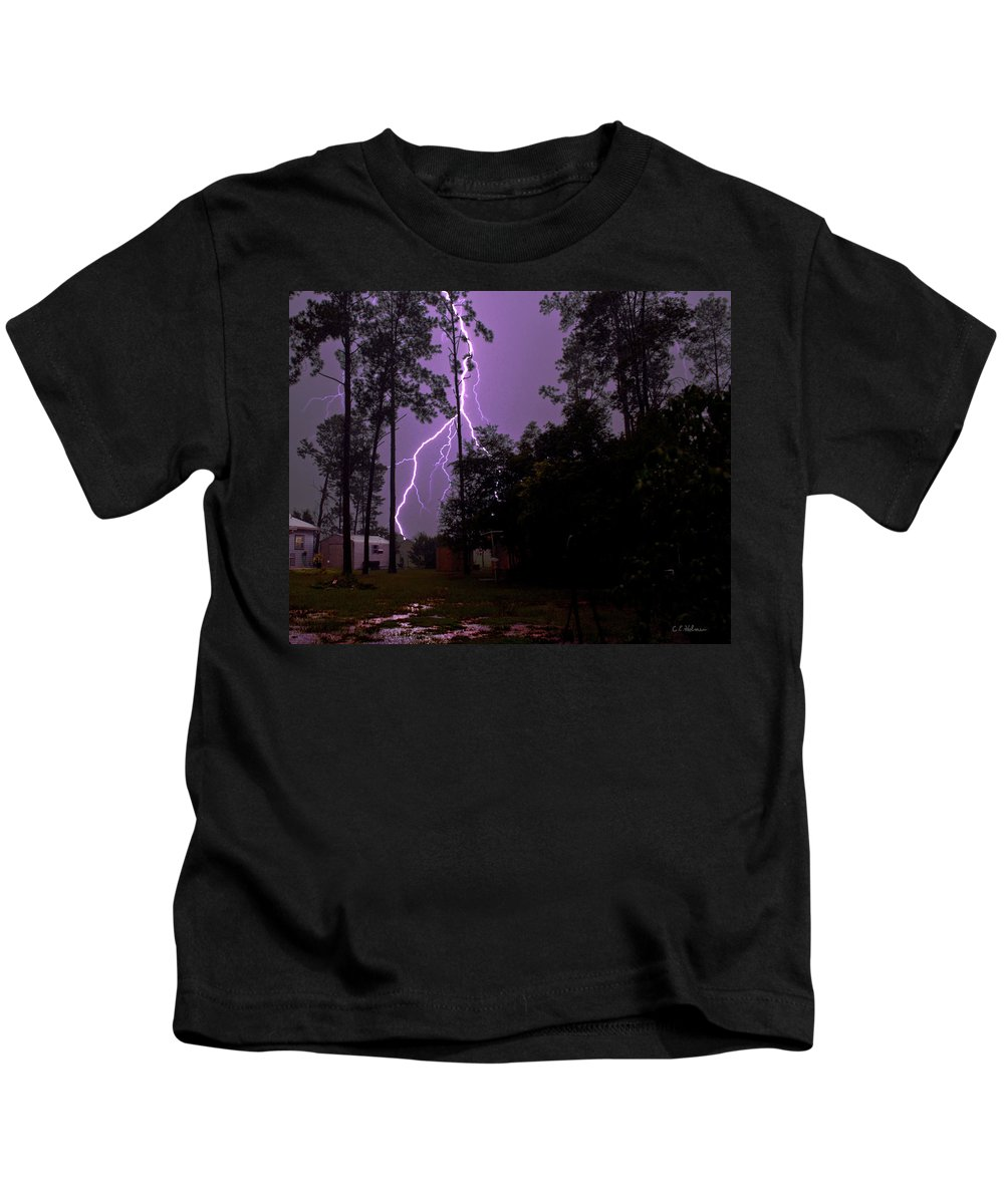 Nature Kids T-Shirt featuring the photograph Backyard Lightning by Christopher Holmes
