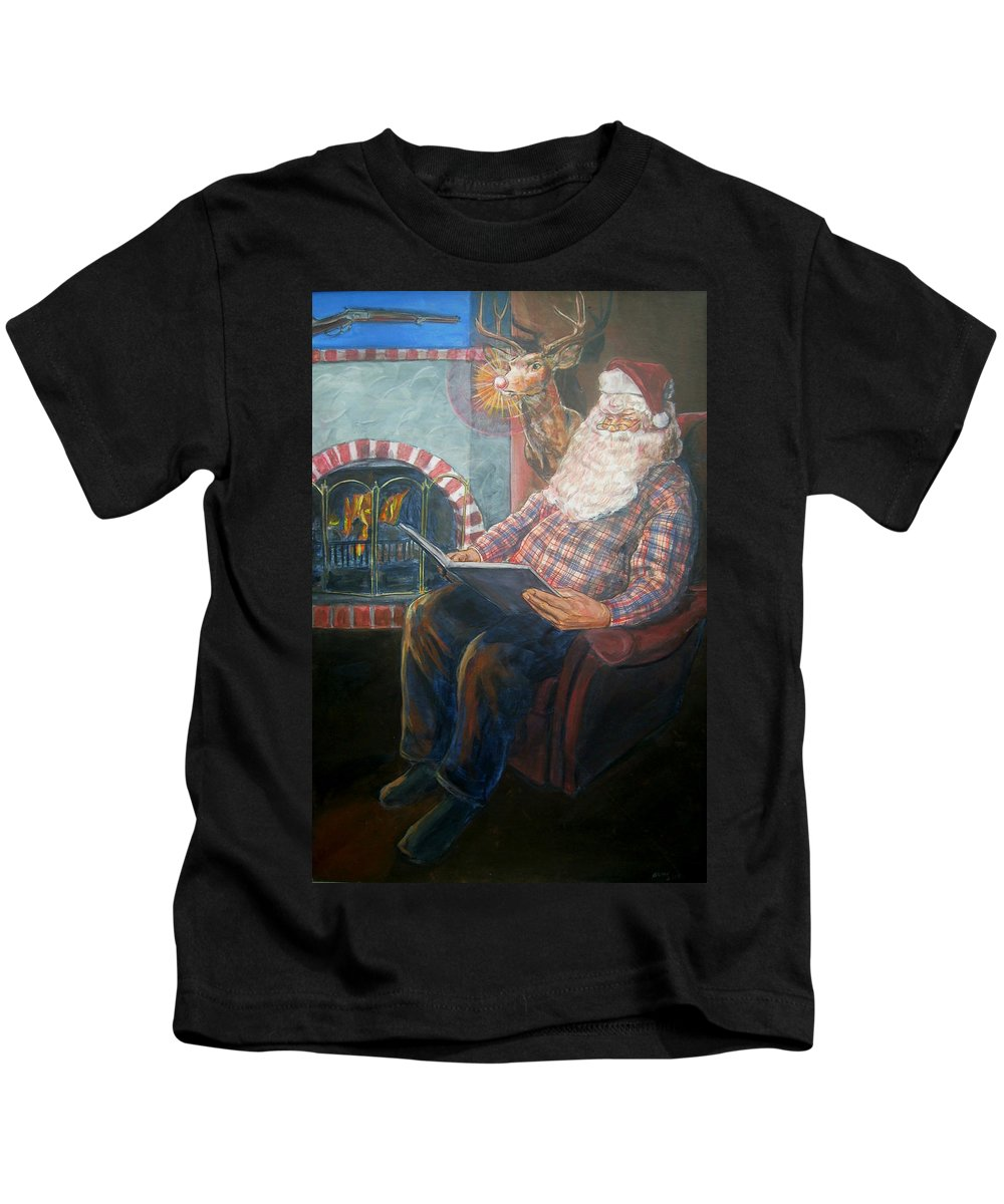 Christmas Kids T-Shirt featuring the painting Bad Rudolph by Bryan Bustard