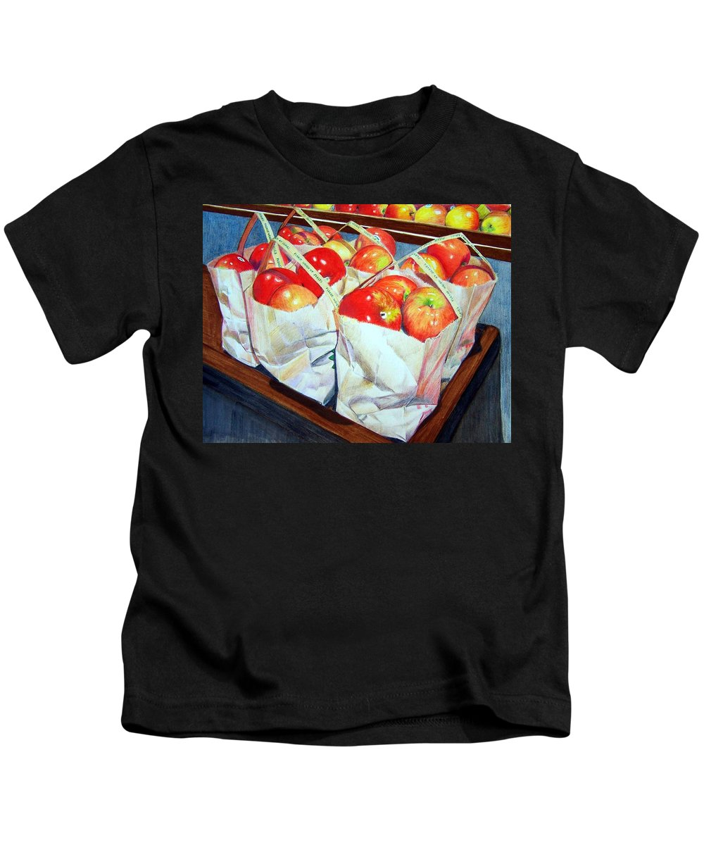 Apples Kids T-Shirt featuring the mixed media Bags of Apples by Constance Drescher