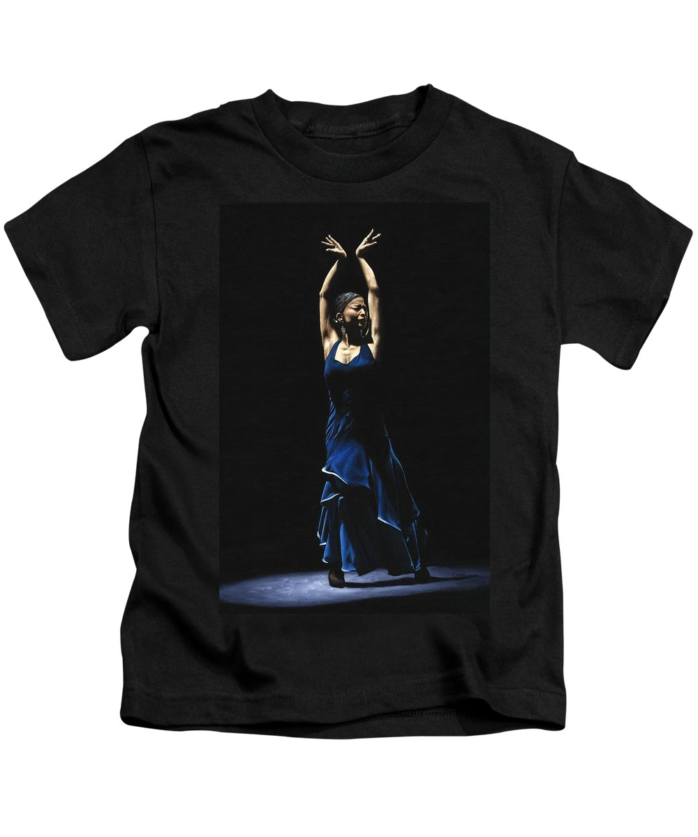 Flamenco Kids T-Shirt featuring the painting Bailarina A Solas Del Flamenco by Richard Young