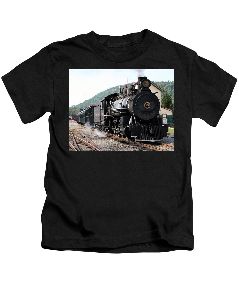 Locomotive Kids T-Shirt featuring the photograph Baldwin Locomotive Number Fifteen by Rebecca Smith