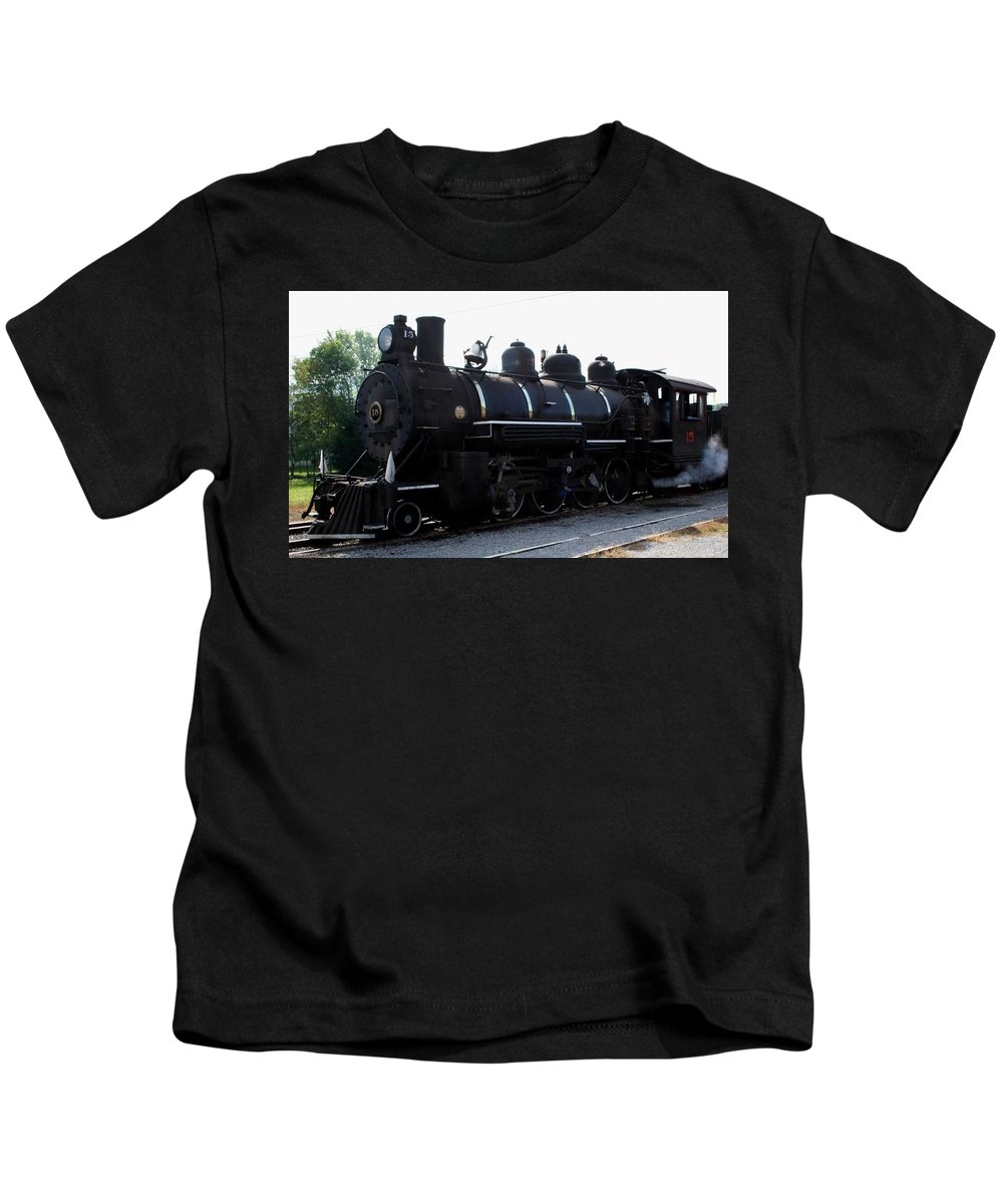 Railroad Kids T-Shirt featuring the photograph Baldwin Locomotive by Rebecca Smith