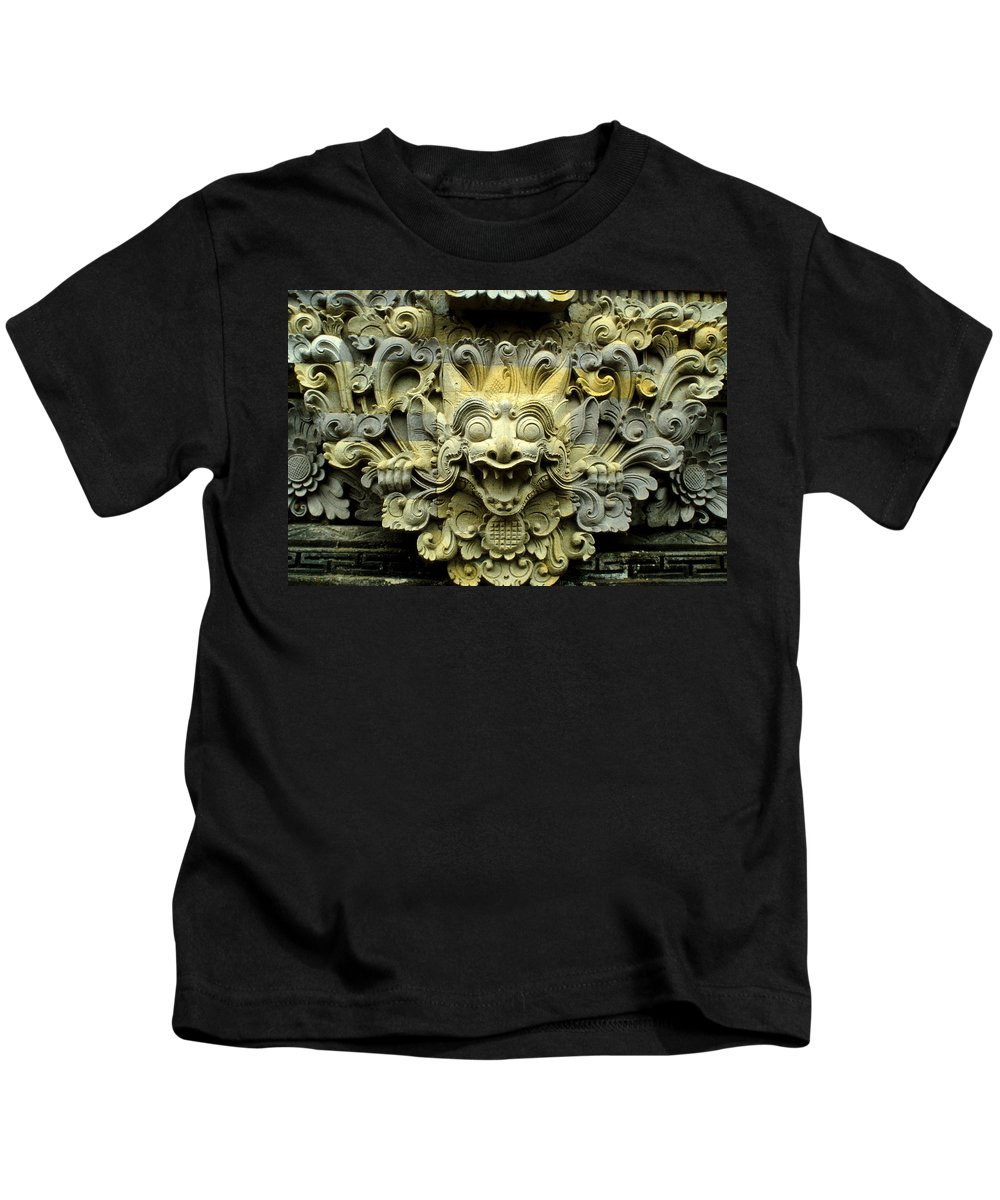Bali Kids T-Shirt featuring the photograph Bali Temple Art by Jerry McElroy