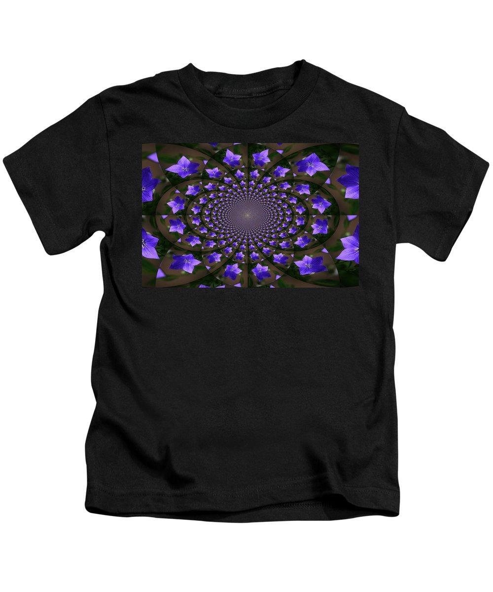 Balloon Flower Kids T-Shirt featuring the photograph Balloon Flower Kaleidoscope by Teresa Mucha