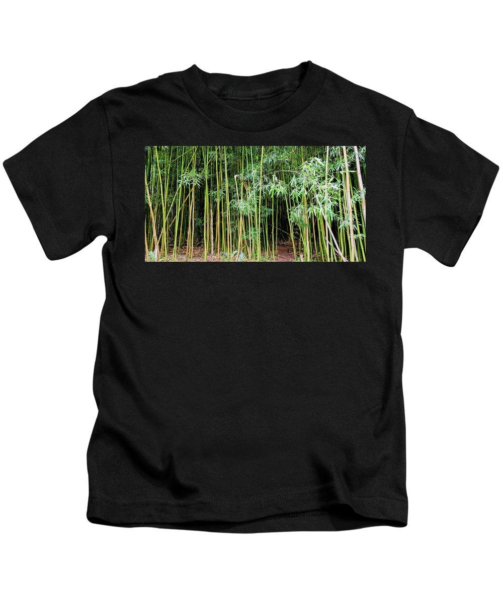 Bamboo Chimes Kids T-Shirt featuring the photograph Bamboo Chimes, Waimoku Falls trail, Hana Maui Hawaii by Michael Bessler