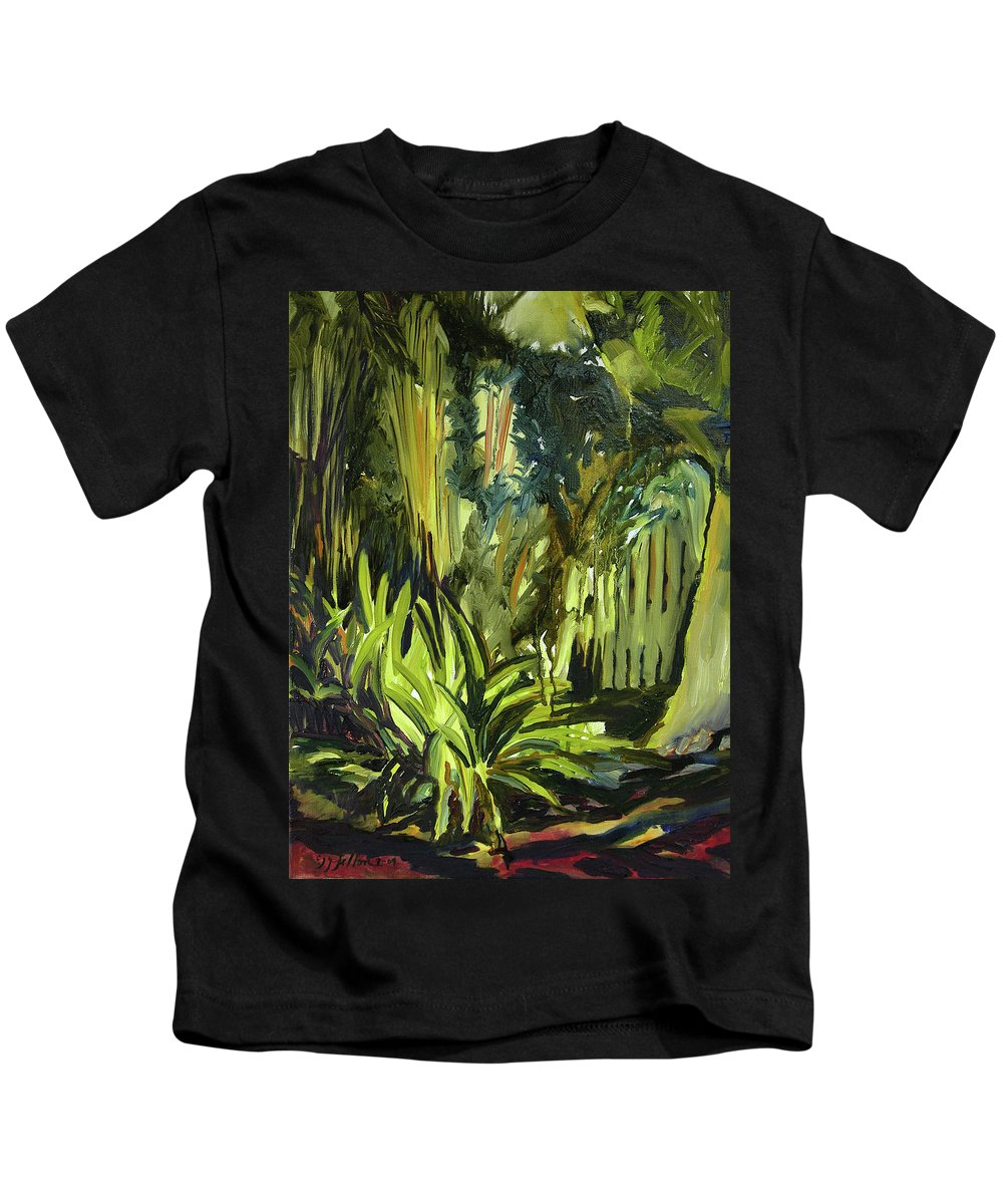 Canvas Prints Kids T-Shirt featuring the painting Bamboo Garden I by Julianne Felton