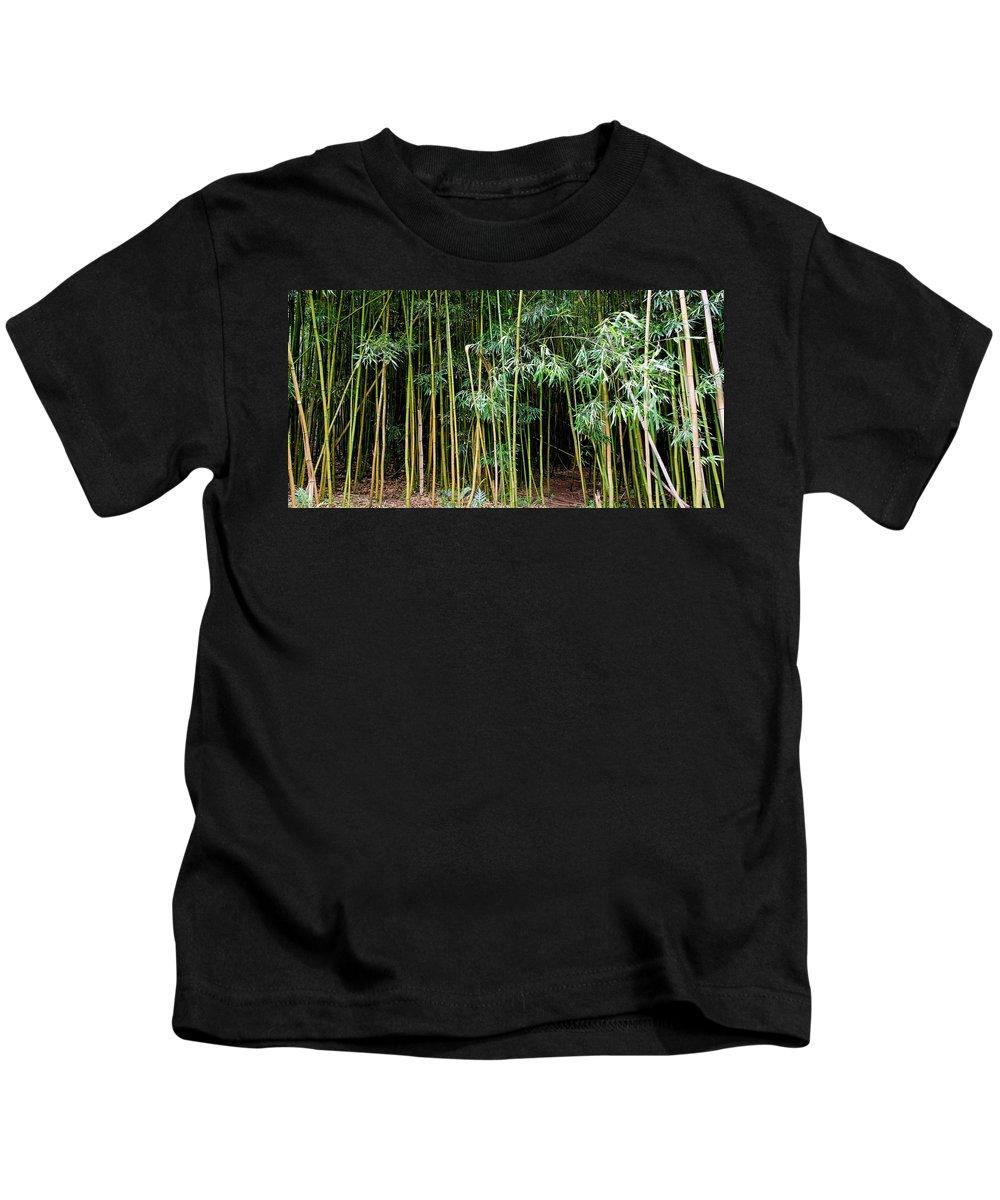 Bamboo Wind Chimes Kids T-Shirt featuring the photograph Bamboo Wind Chimes Waimoku Falls Trail Hana Maui Hawaii by Michael Bessler