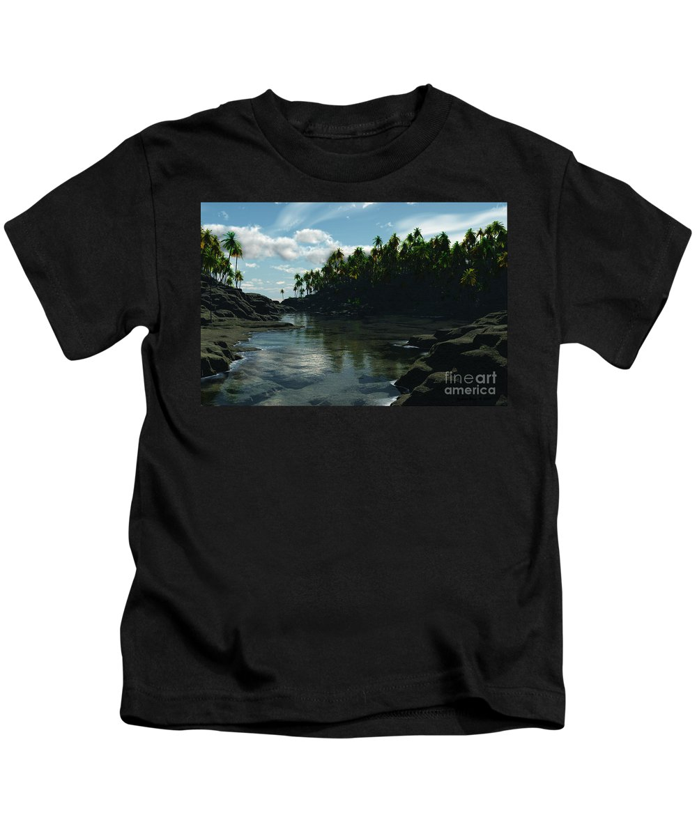 Rivers Kids T-Shirt featuring the digital art Banana River by Richard Rizzo