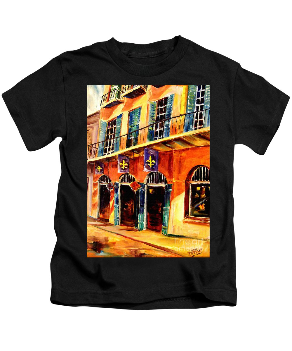 New Orleans Kids T-Shirt featuring the painting Banners On Royal Street by Diane Millsap
