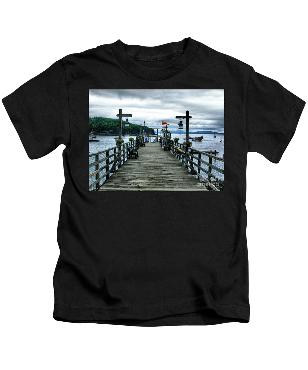 Pier Kids T-Shirt featuring the photograph Bar Habor Pier by Nancie DeMellia