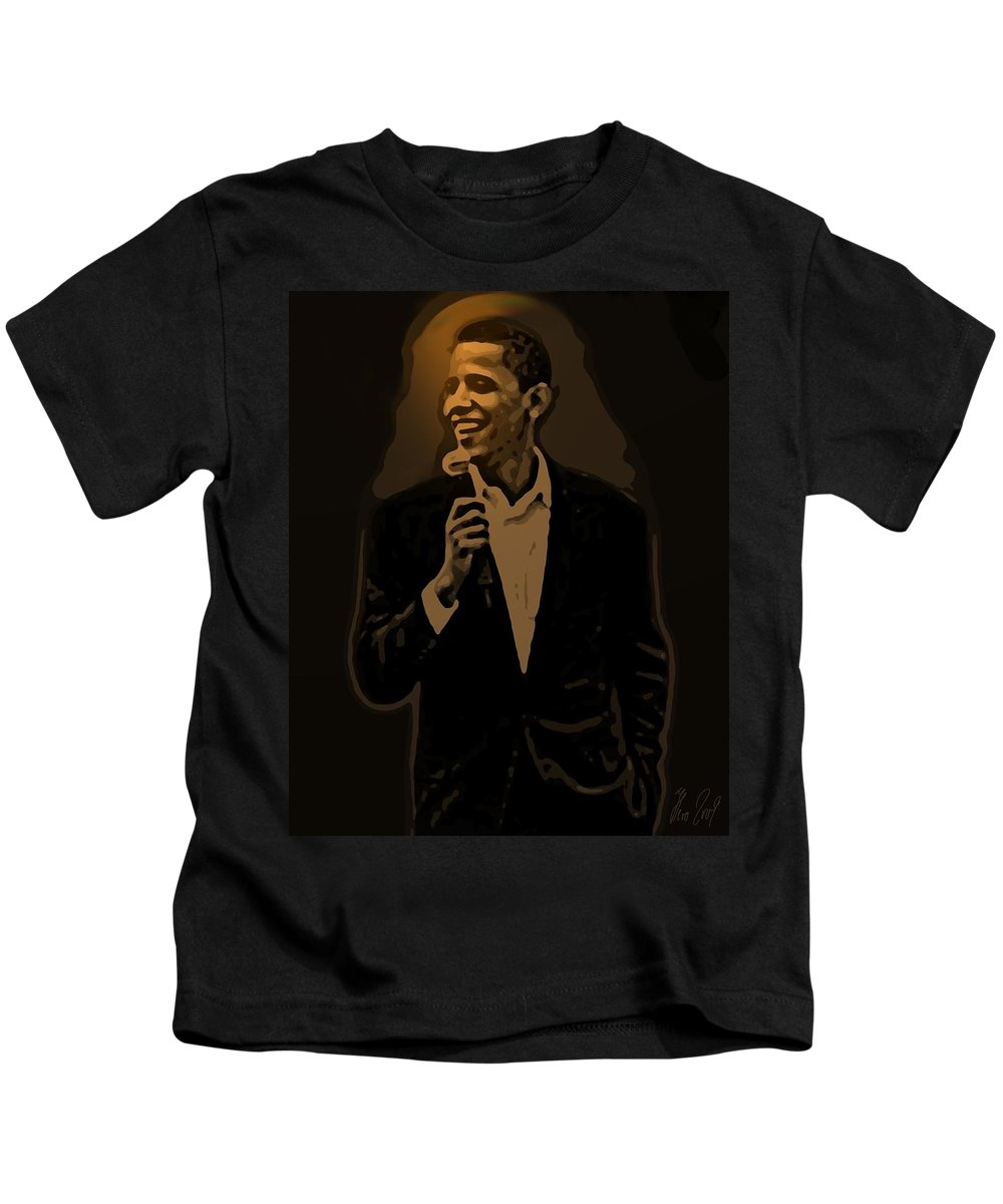 Barack Kids T-Shirt featuring the digital art Barack Obama by Helmut Rottler