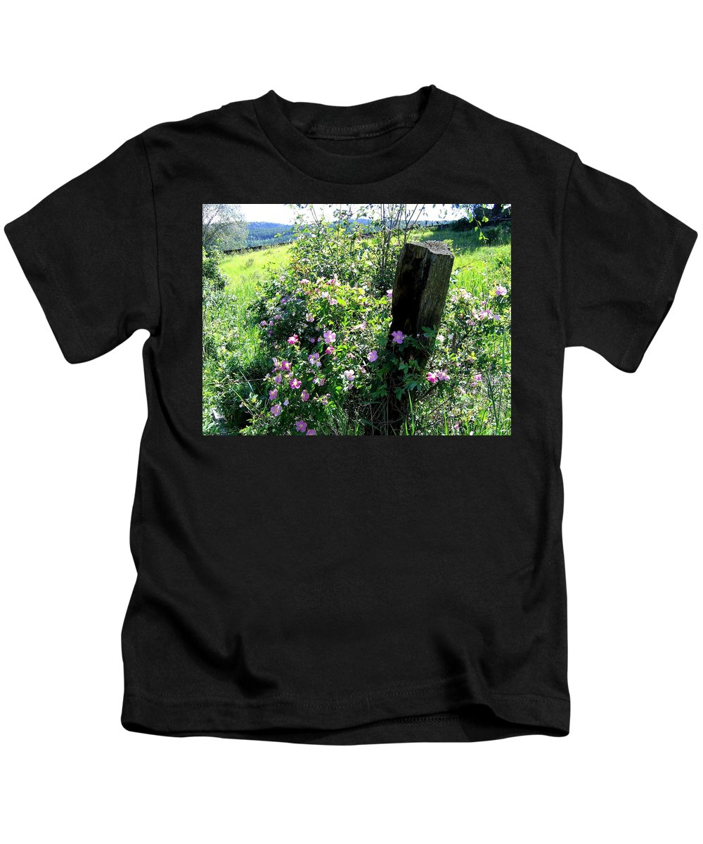 Wild Roses Kids T-Shirt featuring the photograph Barbed Wire And Roses by Will Borden