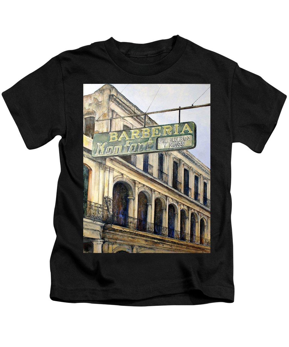 Konfort Barberia Old Havana Cuba Oil Painting Art Urban Cityscape Kids T-Shirt featuring the painting Barberia Konfort by Tomas Castano