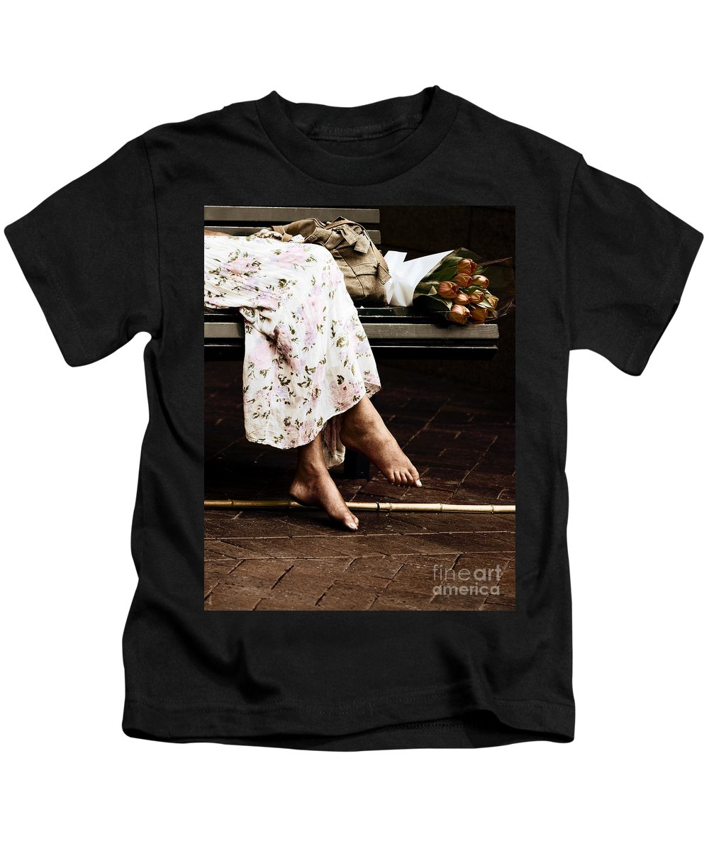 Barefeet Feet Barefoot Tulips Kids T-Shirt featuring the photograph Barefoot And Tulips by Sheila Smart Fine Art Photography