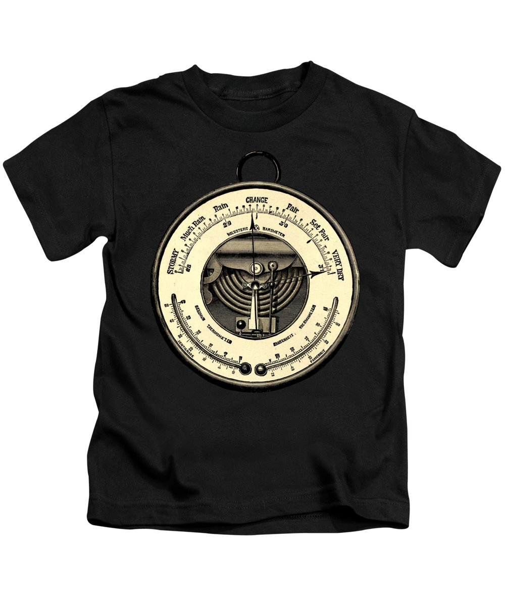 Barometer Kids T-Shirt featuring the digital art Barometer Vintage Tool Dictionary Art by Anna W
