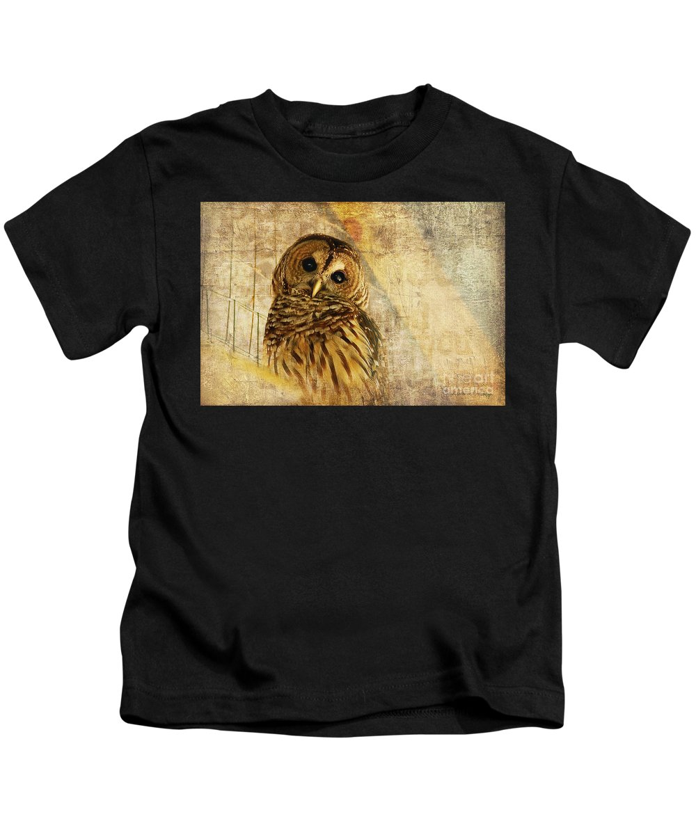 Owl Kids T-Shirt featuring the photograph Barred Owl by Lois Bryan