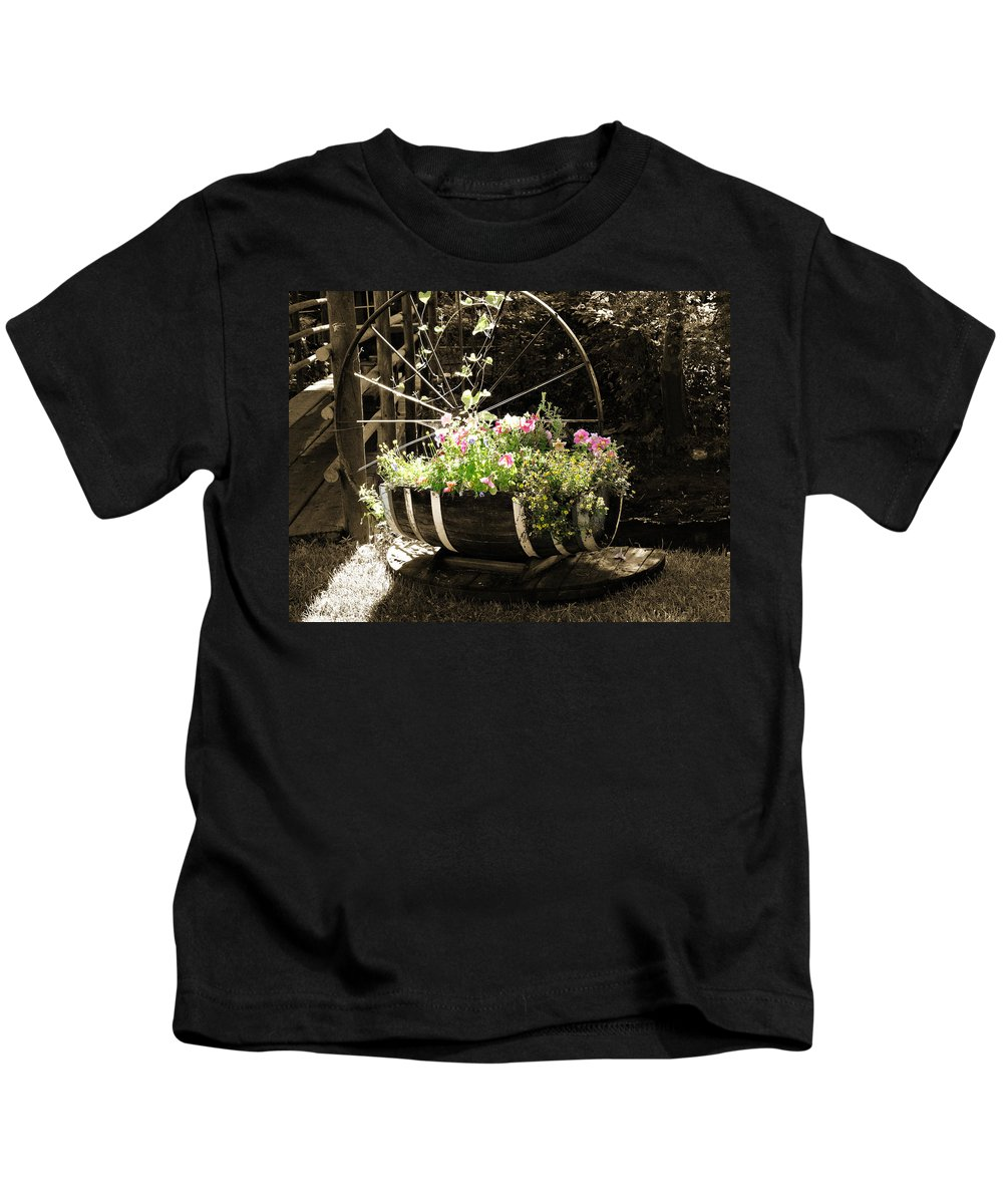 Americana Kids T-Shirt featuring the photograph Barrell Of Fun by Marilyn Hunt